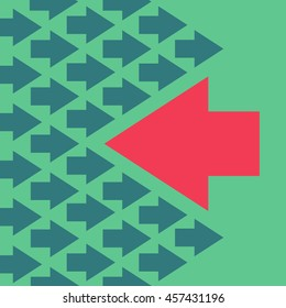 The arrow is moving against the mainstream, colorful vector flat illustration