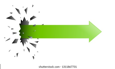 The arrow pierced through the wall, green color, vector illustration graphic