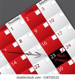 Arrow pointing to circled black friday date