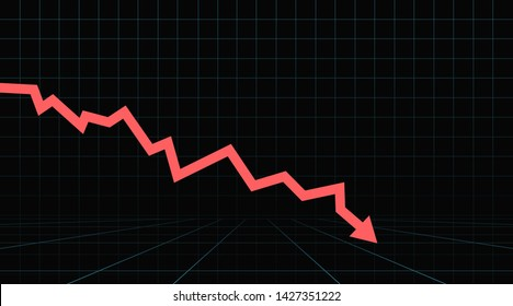 Arrow pointing downwards showing crisis. Stock or financial market crash with red arrow on a black background.