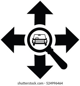 Arrow pointing to four directions resembling north, east, south, west with a magnifying glass and car. Car search, car selling, car deal  vector icon.