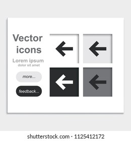 Arrow points to the left flat placed on web page template vector icon.
