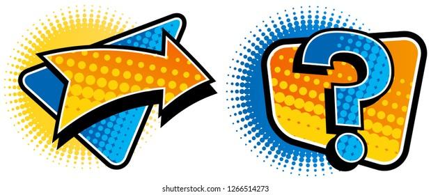 arrow & question mark symbol