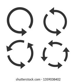Arrow, refresh, update icon set. Vector illustration, flat design.