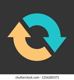 Arrow reload, refresh, rotation, repetition, reset sign. Colored icon on gray background created in 2D flat style. This design graphic element is saved as a vector illustration in EPS file format