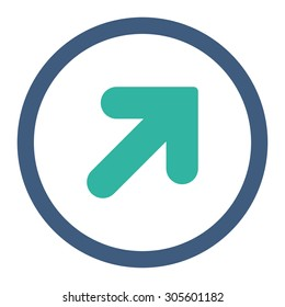 Arrow Up Right vector icon. This rounded flat symbol is drawn with cobalt and cyan colors on a white background.