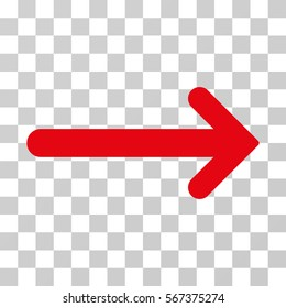Arrow Right vector pictogram. Illustration style is flat iconic red symbol on a transparent background.