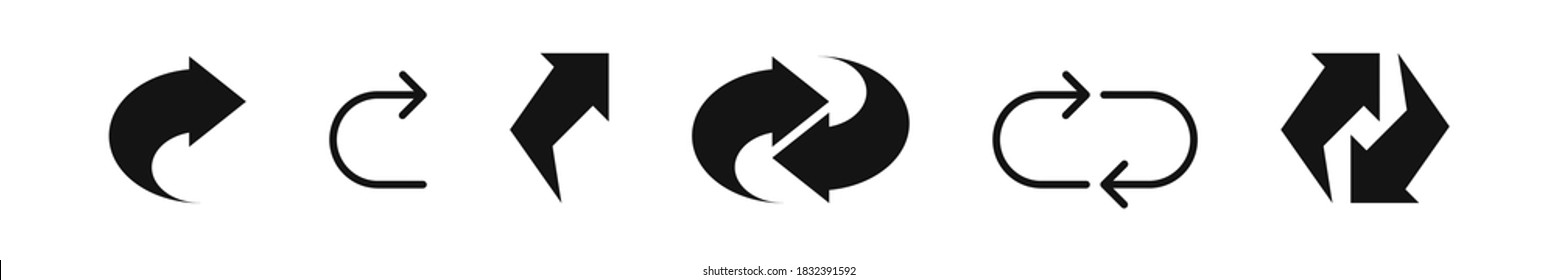 Arrow rotate vector refresh icon, rotation loop black flat simple sign on white background.