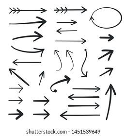Arrow Set Icon Hand Drawing Design Element - Vector