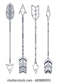Arrow set in Native American Indian style. Vector hand drawn hipster illustration isolated on white background. Boho design, tattoo art, coloring book for adults.