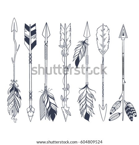Arrow Set Native American Indian Style Stockvector Rechtenvrij