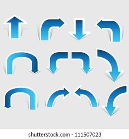 arrow set, paper cut pop up, blue color