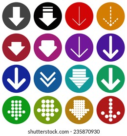 Arrow sign colored icon set, web design elements. Simple circle shape internet button on white background -  vector illustration.