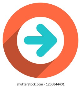 Arrow sign direction icon in circular shape. Web internet button with flat long shadow style. This design graphic element is saved as a vector illustration in the EPS file format.