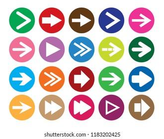 Arrow sign icon set. Simple circle shape internet button. Vector illustration web design.