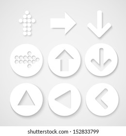 Arrow sign icon set. Simple circle shape internet button on gray background. Contemporary modern style. Vector illustration.