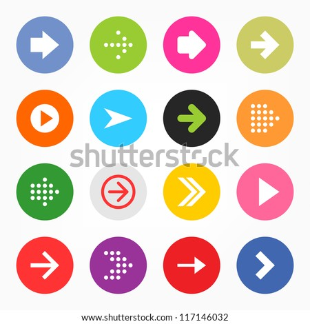 Arrow sign icon set. Simple circle shape internet button on gray background. Contemporary modern style. This vector illustration web design elements saved 8 eps