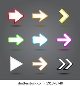 Arrow sign icon set. Vector illustration