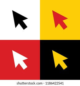 Arrow sign illustration. Vector. Icons of german flag on corresponding colors as background.