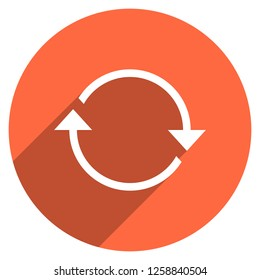 Arrow sign reload, refresh, rotation, loop, repetition, reset icon on circular shape. Round web internet button in flat long shadow style. Design graphic element is saved as a vector illustration EPS