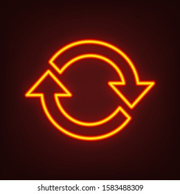 Arrow sign reload refresh rotation loop pictogram. Yellow, orange, red neon icon at dark reddish background. Illumination. Illustration.
