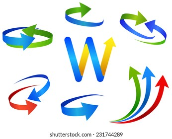 arrow signs icon set, round and spiral form web design elements on white background. vector format - you can easily change the color and size