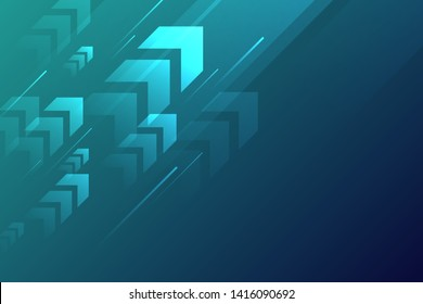 Arrow up with speed line on blue background copy space technology speed development concept