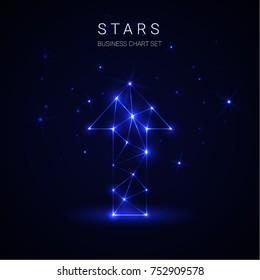 Arrow star business vector on blue background.