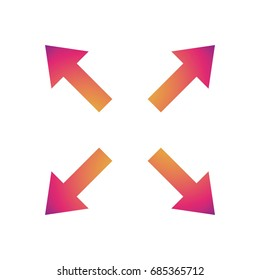 Arrow symbol with color gradient Watching in different directions, expand option. Vector illustration