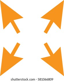 arrow symbol orange isolated vector