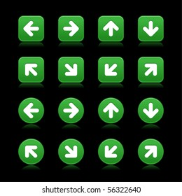 Arrow symbol web 2.0 internet buttons. Green smooth square and round shapes with reflections and shadows on black background