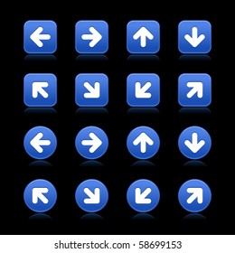 Arrow symbol web 2.0 internet buttons. Cobalt smooth square and round shapes with reflections on black background
