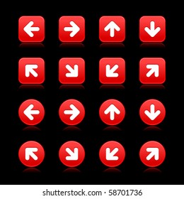 Arrow symbol web 2.0 internet buttons. Red smooth square and round shapes with reflections on black background