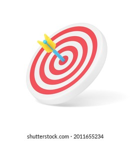 Arrow target 3d icon. Circular disc with red stripes and blue dart in center. Achievement in marketing and business. Accurate hit in shooting with lucrative contract. Realistic isolated vector