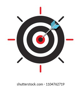 Arrow in Target Centre Icon. Dart in Bullseye. Vector Business Success Symbol.