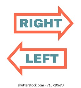 Arrow with text Right and Left. Vector illustration