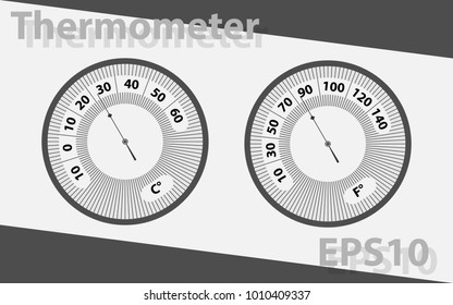 Arrow thermometer. Temperature measuring device. Vector thermometer in gray color.