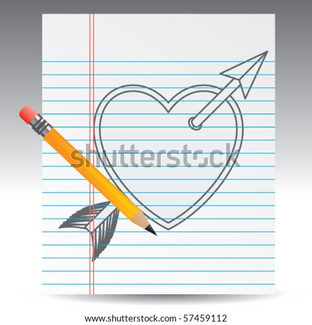 arrow through heart drawing on paper stock vector royalty free