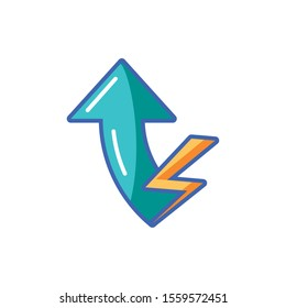 arrow and thunder icon design, Energy renewable power supply and sustainable theme Vector illustration