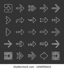 Arrow types chalk icons set. Wavy, notched, striped arrowheads. Right pointing sign. Navigation symbol. Dotted, twisted, dashed next arrows. Direction move. Isolated vector chalkboard illustrations