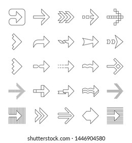 Arrow types linear icons set. Wavy, notched, striped double, arrowheads. Dotted, twisted next. Navigation sign. Thin line contour symbols. Isolated vector outline illustrations. Editable stroke