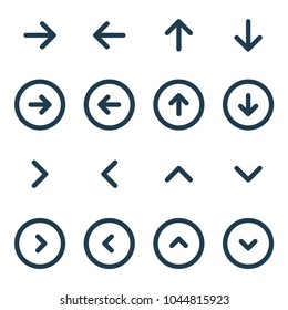 Arrow UI line icon set. Vector illustration.