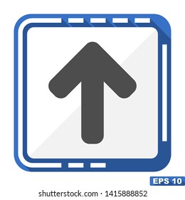 Arrow up vector blue icon, flat design illustration
