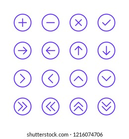 Arrow vector icon set. outline. plus & minus