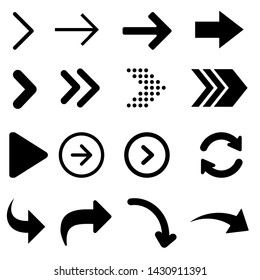 Arrow vector icon. Signs Direction Icon Set. Arrow symbol illustration.