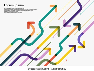 Arrow way diagonal direction colorful overlapping on white background. Vector illustration
