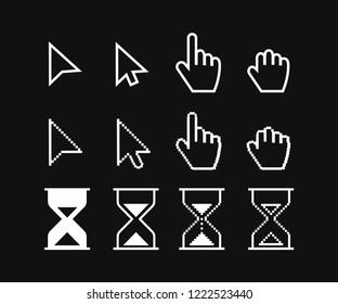 Arrow web cursors, digital hand pointers vector black pictograms. Vector illustration.