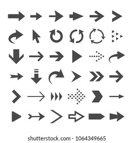 Arrow web icons isolated, cursor download and next page navigation buttons vector set. Interface forward arrow, circular arrow pointer illustration