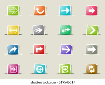 arrow web icons on color paper bookmarks