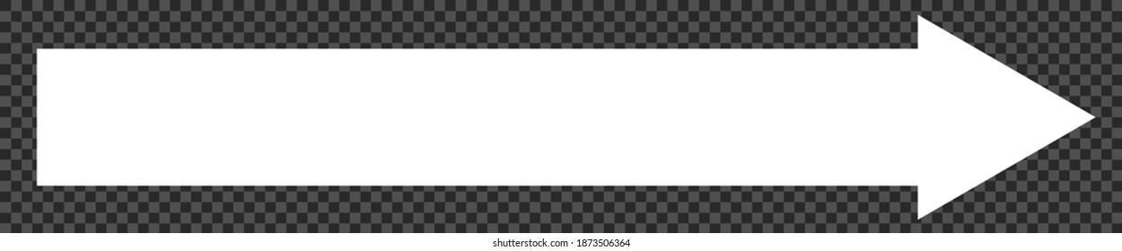 Arrow white pointer sign, big long direction arrow icon - stock vector